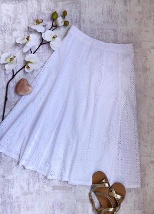 Белая юбка миди с перфорацией
