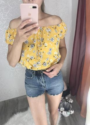 Горчичный топ/ блуза принт цветы от new look 🧡💛🧡