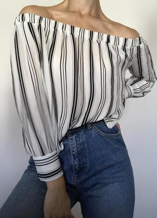 Сорочка блуза без плеч на плечі в полоску объёмные рукава