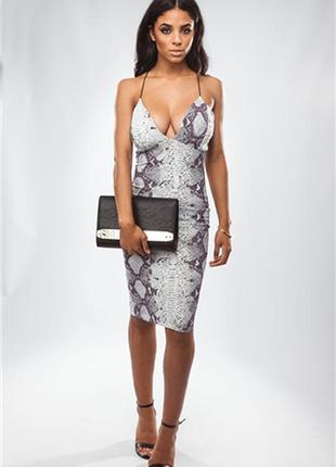 Платье в змеиный принт (питон) на тонких бретельках missguided, р.xs-s