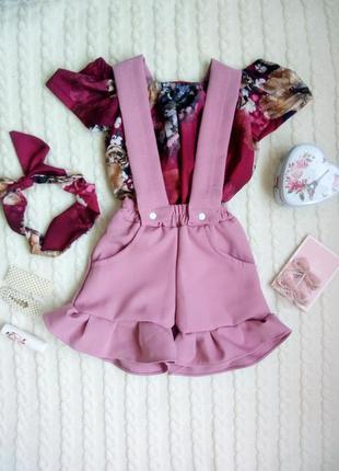 Нереально милый комплект для девочки😍костюм-комбинезон+блуза+повязка солоха на голову