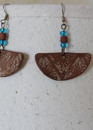 Серьги из глины, сережки ручная работа hand made, изделия из глины, этно бохо стиль