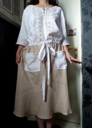 Фирменное льняное платье. очень красивое !!!