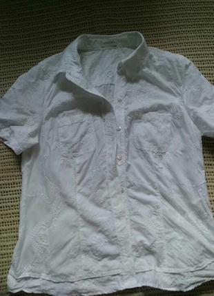 Белоснежная хлопковая блуза/рубашечка