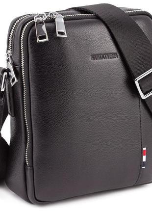 Marco coverna наплечная мужская сумка на два отделения в черном цвете