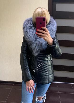 Кожаная куртка с мехом песца, кожаный пуховик, кожаная куртка зима