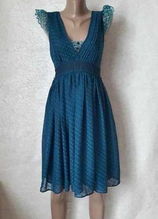 Фирменное asos шифоновое платье-миди с кружевными рукавчиками и пояском, размер л-ка
