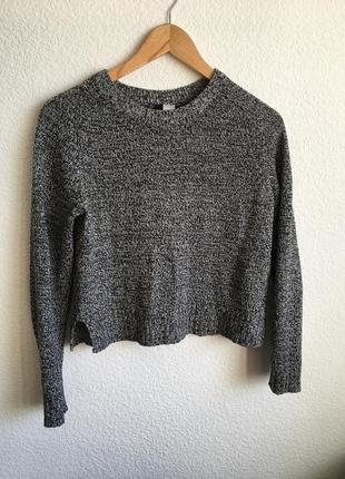 Серый свитер укороченный h&m
