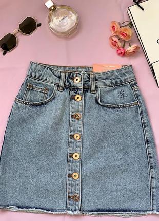 Юбка короткая джинсовая на пуговицах