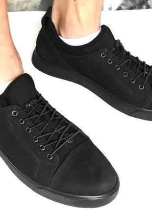 Универсальные мужские кожаные удобные спортивные туфли без шнурков на резинках mante pro!