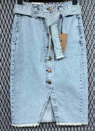 Юбка джинсовая высокая посадка на пуговицах