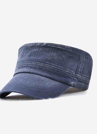 Кепка немка джинсовая синяя