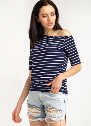 Трикотажная футболка на одно плечо синяя полоска