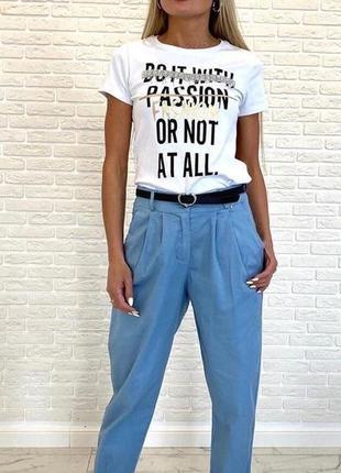 Брюки синие джинс коттон