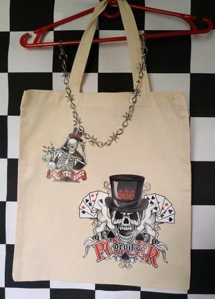 Шоппер эко-сумка эко сумка экосумка с принтом смерти джокера скелетом