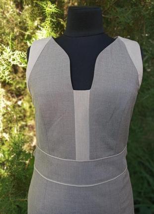 Платье миди серое классическое next кэжуал минимализм строгое для работы офиса винтаж