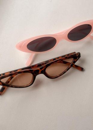 Узкие солнцезащитные очки леопардовой и розовой расцветки