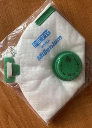 Ffp2 защитная маска респиратор fs74v millenium с клапаном выдоха оригинал poland2 фото