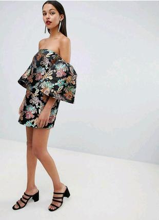Жакардовое платье, рукава воланы asos