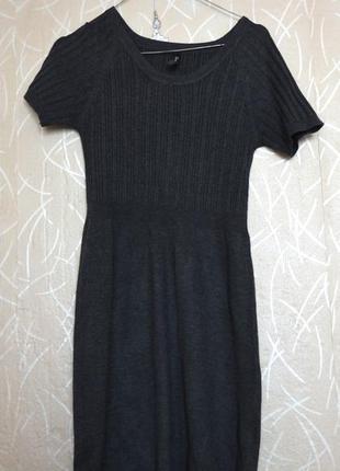 Тёмно-серое базовое трикотажное платье gloria jeans