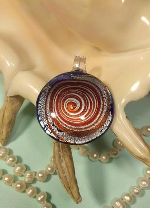 Кулон подвеска муранское стекло круглый большой серебристый синий терракот мурано