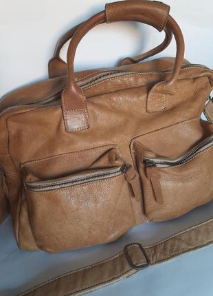 Мужская кожаная сумка дорожная портфель через плечо натуральная