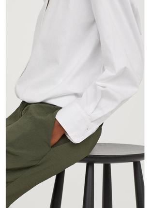 Стильные брюки штаны с эластичным поясом завышенной талией хаки