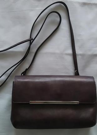 Кожаная бордовая мини-сумка/клатч через плечо на длином ремешке от vif bagsetc