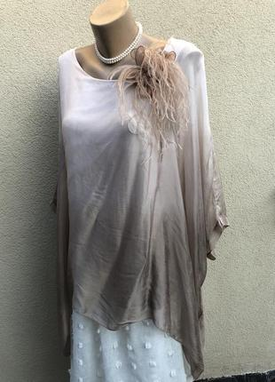 Шёлк амбре,блуза,пончо,реглан,разлетайка,большой размер,этно бохо,