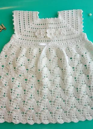 Детское платье на крестины. вязаное детское платье