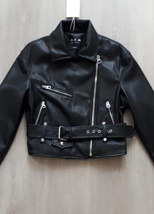 Куртка в байкер стиле с пясом bershka3 фото