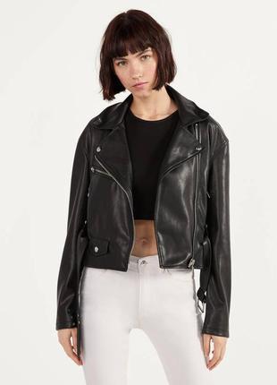 Куртка в байкер стиле с пясом bershka8 фото