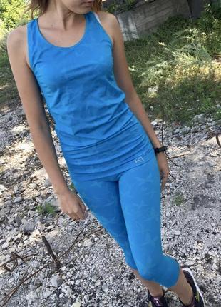 Спортивный костюм голубой майка лосины комплект комбинезон