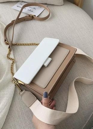 Женская сумка,сумочка через плече, летняя бежевая светлая кроссбоди