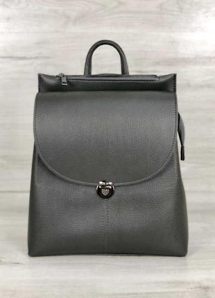 Молодежный сумка-рюкзак в сером цвете, изготовлен из искусственной кожи высокого качества