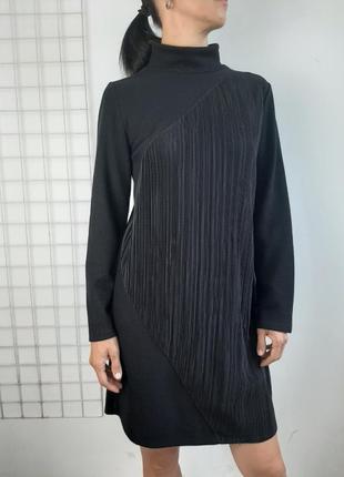 Zara платье свитер с плисе и высоким горлом
