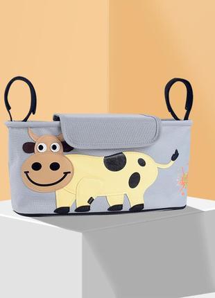 Сумка - багажник для коляски, карман на коляску, с крышкой. корова.