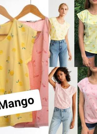 Базовая новая хлопковая футболка/майка  mango купить цена