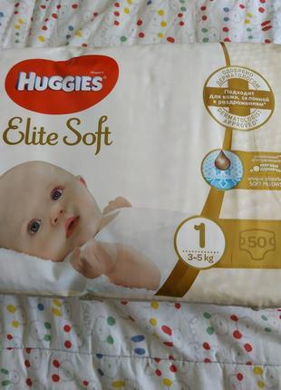 Huggies elite soft 1 3-5 кг 50 шт