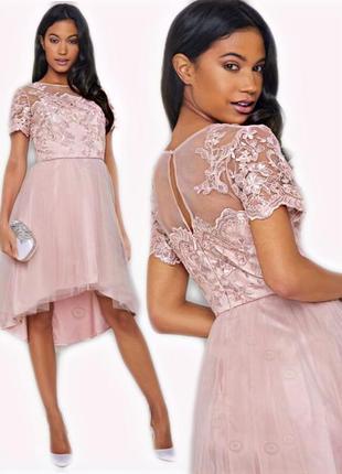 Шикарное новое платье миди asos chi chi london розовое нежное нарядное выпускное красивое