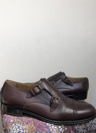 Баклажановые / бордовые кожаные классические мужские туфли caramelo1 фото