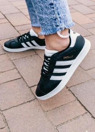Кроссовки adidas gazelle ( aдидас газель ) кеды черные с белой подошвой