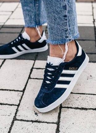 Кроссовки adidas gazelle ( aдидас газель ) кеды темно синие с белой подошвой2 фото