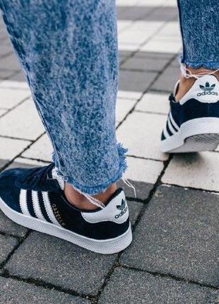 Кроссовки adidas gazelle ( aдидас газель ) кеды темно синие с белой подошвой4 фото