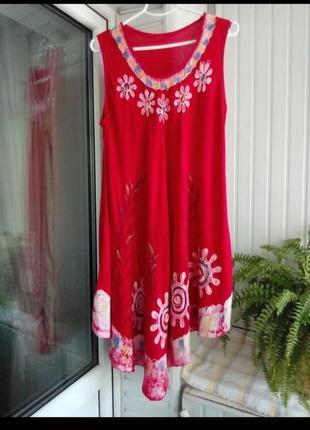 Натуральное вискозное платье разлетайка большого размера батал