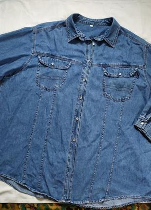 Стильная джинсовая рубашка большого размера 28/30 от ulla popken