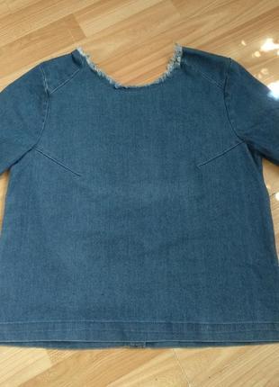 Джинсовая блузка pieces. с открытой спинкой