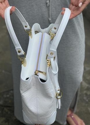 Кожаная роскошная белая сумка с принтом dalida италия2 фото
