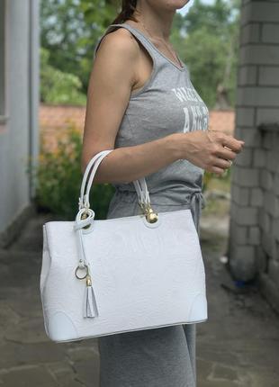 Кожаная роскошная белая сумка с принтом dalida италия1 фото