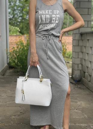 Кожаная роскошная белая сумка с принтом dalida италия3 фото